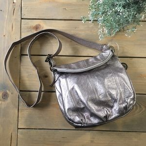 The Sak Deena Pewter Metallic Crossbody Bag